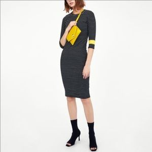 Zara Striped Bodycon Color Block Midi Dress